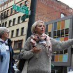 Portland's First Lady Nancy Hales gives members a tour of the Pearl District.